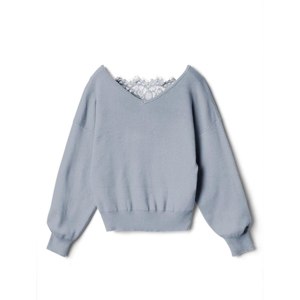 日本 GRL - 蕾絲美背V領針織上衣-寶貝藍