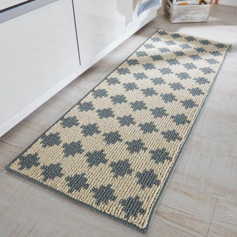 日本千趣會 - 日本製 長毛舒適腳踏墊(廚房/臥室)-幾何圖紋-米灰色系