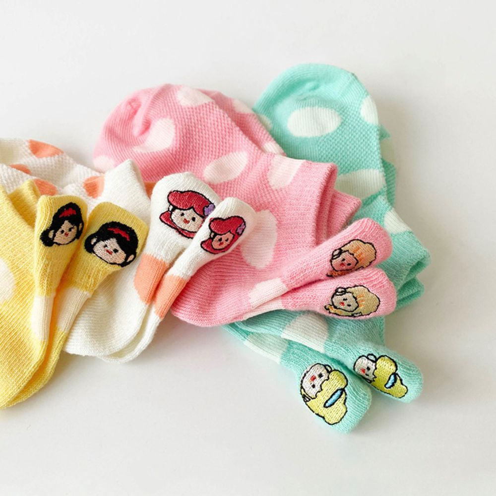 薄款公主刺繡兒童船型襪(4雙一組)