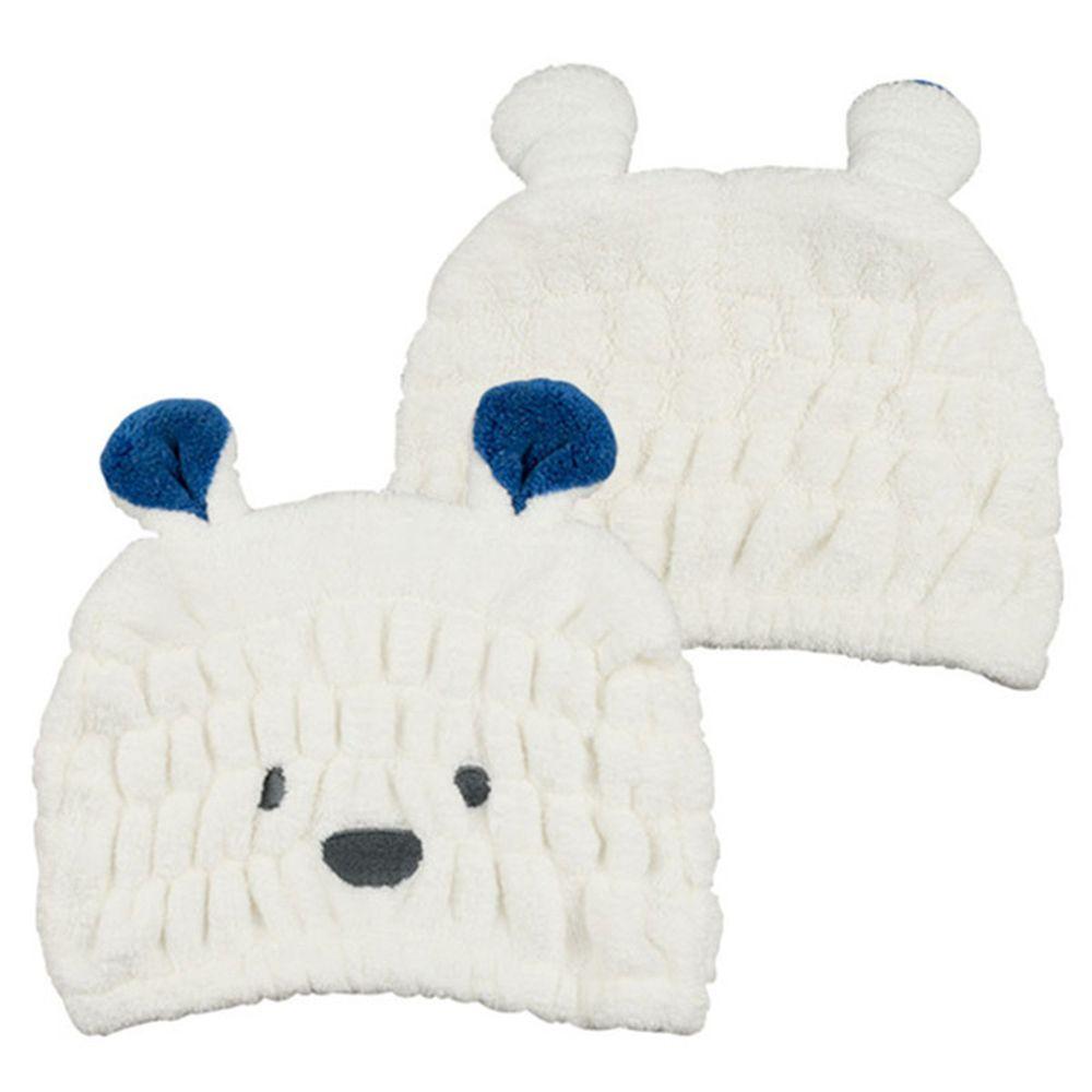 akachan honpo - 動物造型吸水乾髮帽-白熊-白色 (頭圍44~80cm)