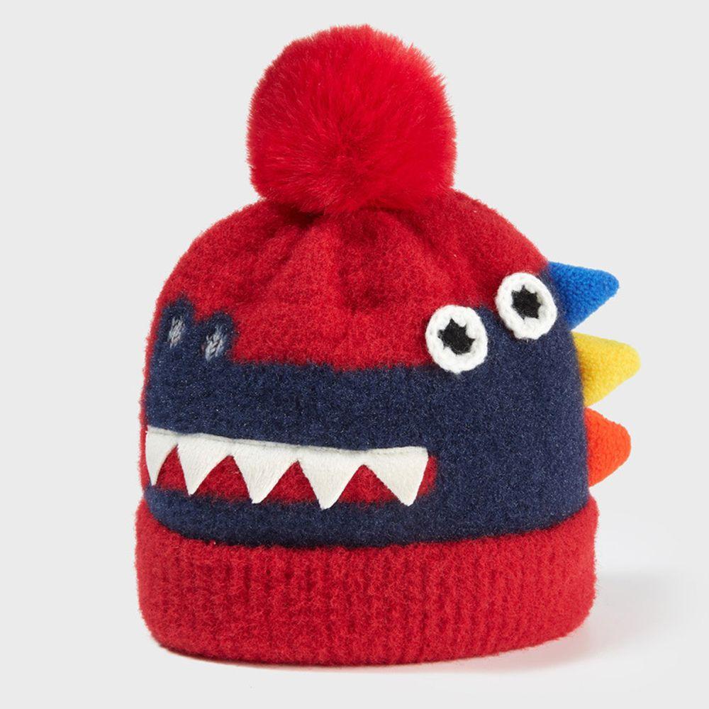 大毛球恐龍針織帽-紅色 (44-50CM(2-6Y))