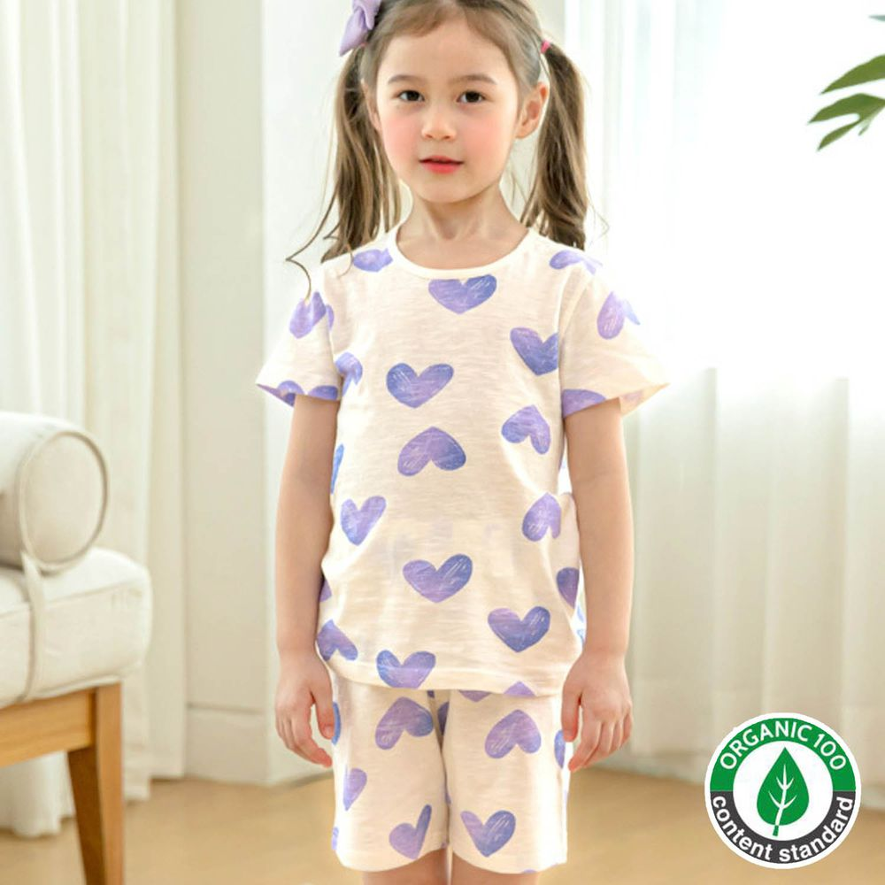 韓國 Maykids - 有機棉細柔短袖袖家居服-紫色愛心
