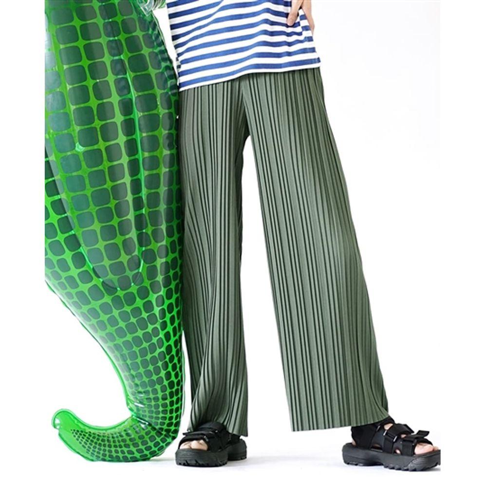 日本 zootie - 繽紛顯瘦百褶風琴寬褲-灰綠 (M)