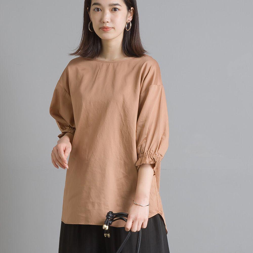日本女裝代購 - 高品質棉緞寬領澎澎短袖上衣-杏 (Free size)