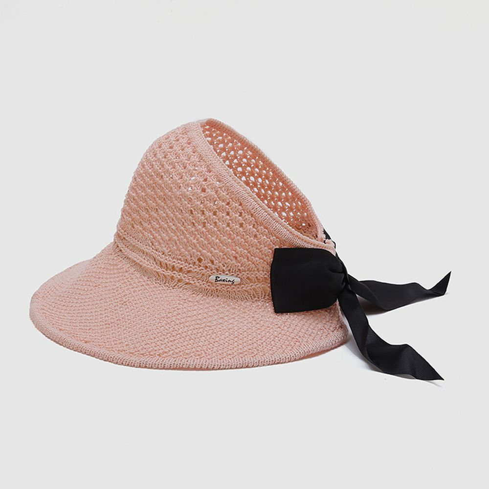 兒童可折疊空頂遮陽草帽-粉色 (50-52cm)