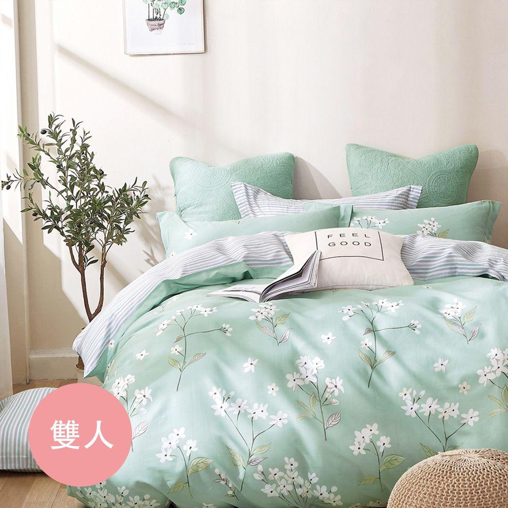 PureOne - 極致純棉寢具組-錦繡花期-雙人鋪棉兩用被套床包四件組