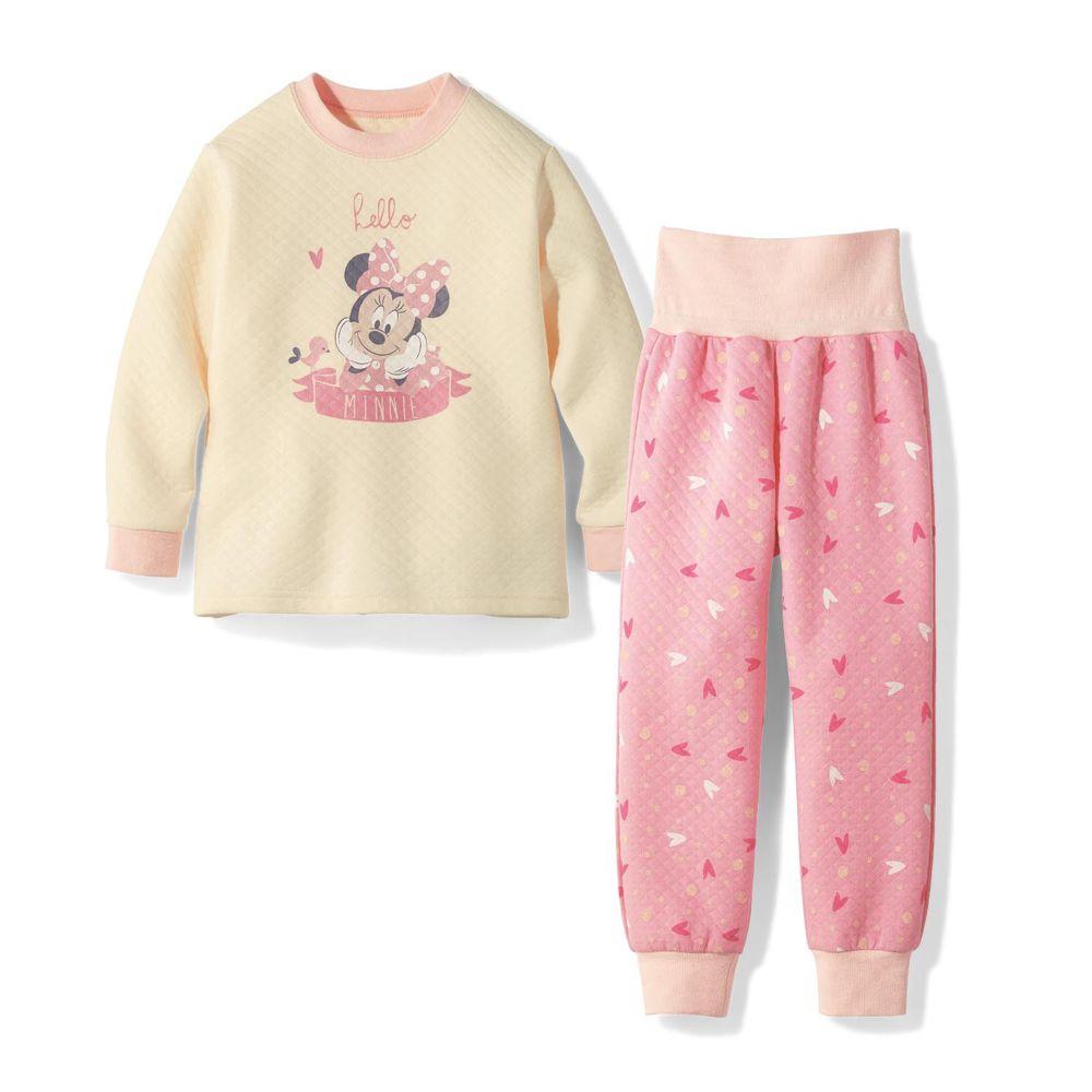 日本千趣會 - 迪士尼純棉鋪棉長袖家居服/睡衣-米妮蝴蝶結-米X粉紅
