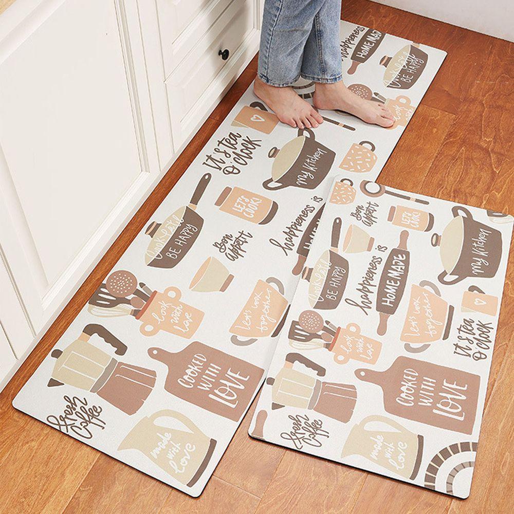 廚房仿皮革PVC防水腳踏墊-烹飪美食