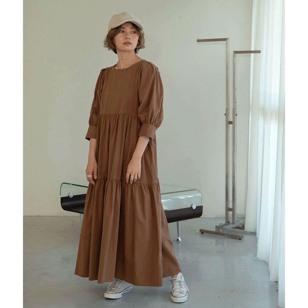 日本 Bou Jeloud - 浪漫澎袖蛋糕層次五分袖長洋裝-深咖啡
