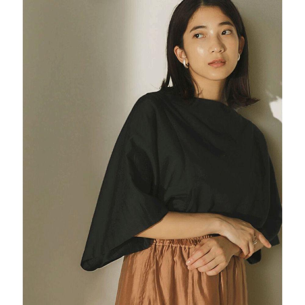 日本 Bou Jeloud - 修身剪裁撞色傘狀七分袖上衣-黑
