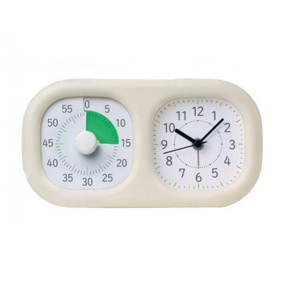 日本文具 SONIC - 時間流逝實感 倒數時鐘+時鐘-象牙白-團購專案