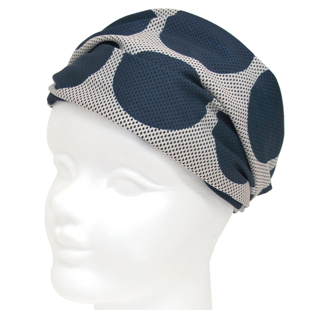 日本 DAIKAI - 3way吸水速乾UV CUT加工 涼感頭巾/髮帶/領巾-普普原點-深藍