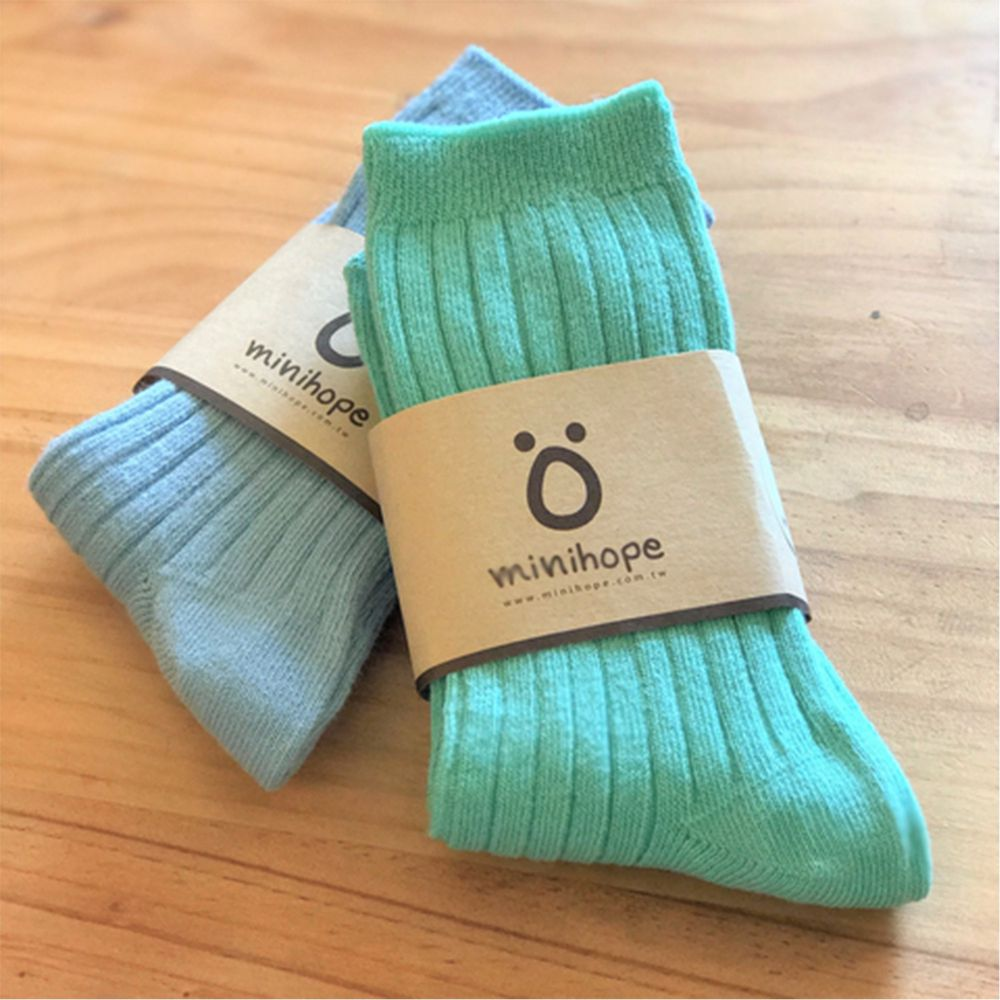 minihope美好的親子生活 - 好穿搭精梳棉襪2件組-馬卡龍組合-羅紋(藍)1雙+羅紋(湖藍)1雙