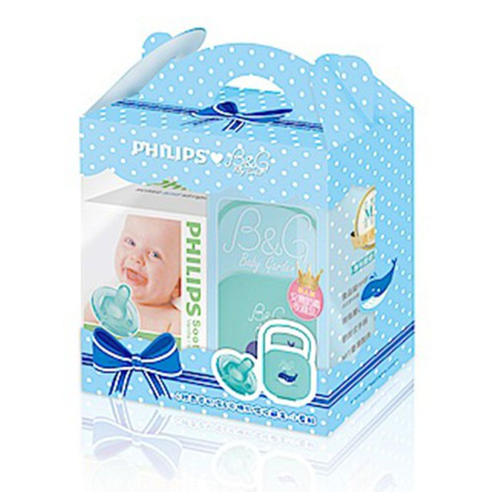 PHILIPS 飛利浦 Soothie - 原味奶嘴禮盒-小藍鯨-4號奶嘴+收藏盒