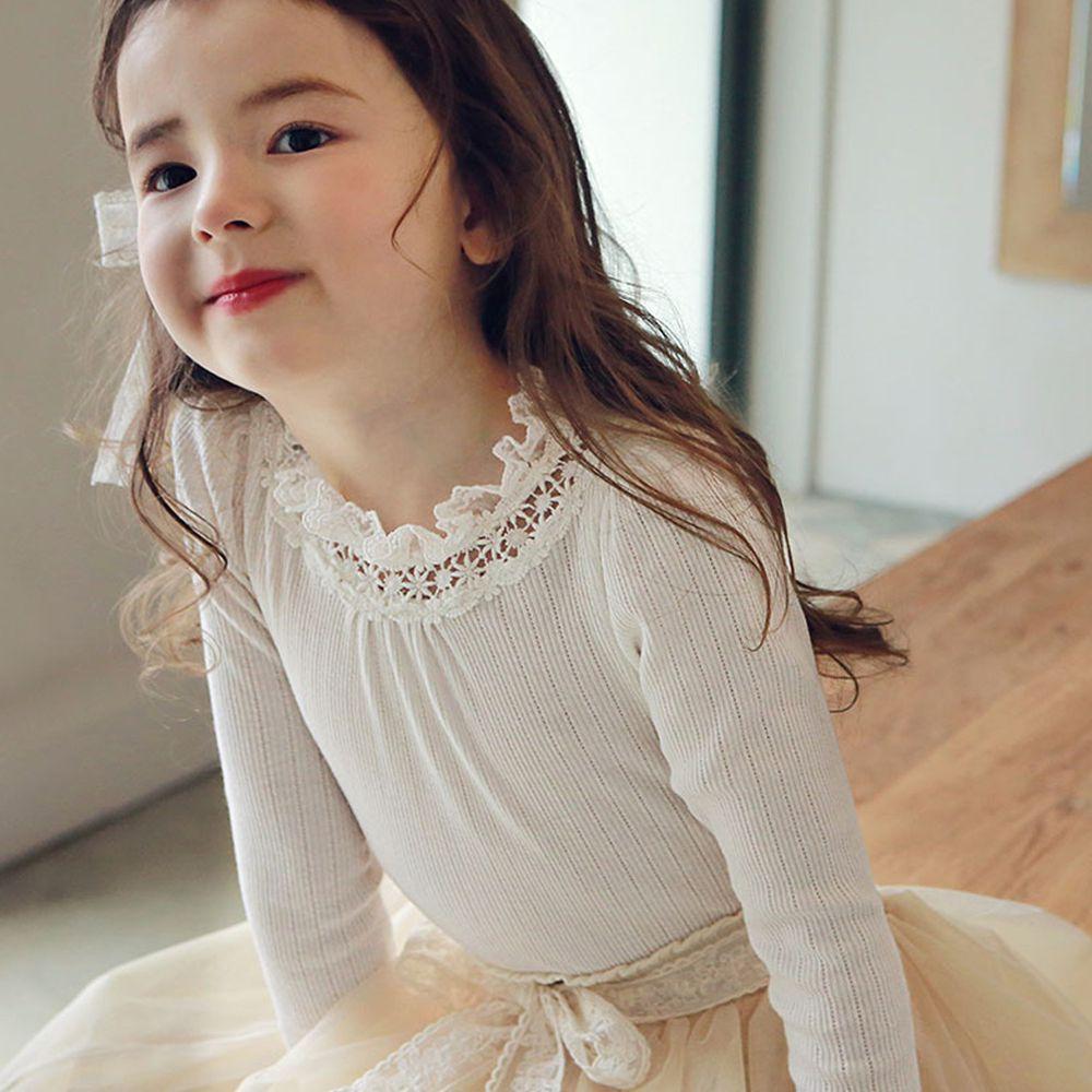 韓國 PuellaFLO - 鏤空雕花蕾絲領針織薄上衣-象牙白