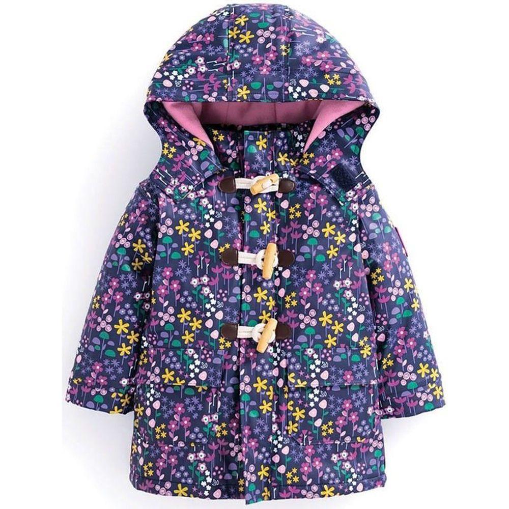 英國 JoJo Maman BeBe - 防雨/防風牛角鋪棉外套-紫花園