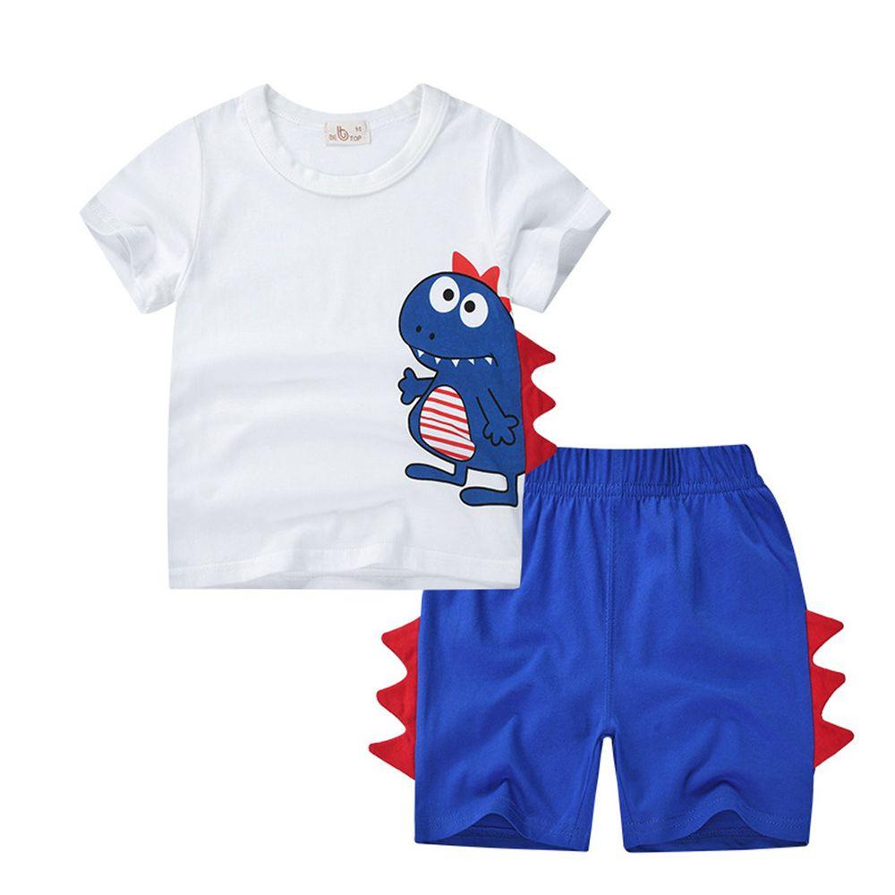 恐龍純棉短袖上衣短褲套組-白X藍