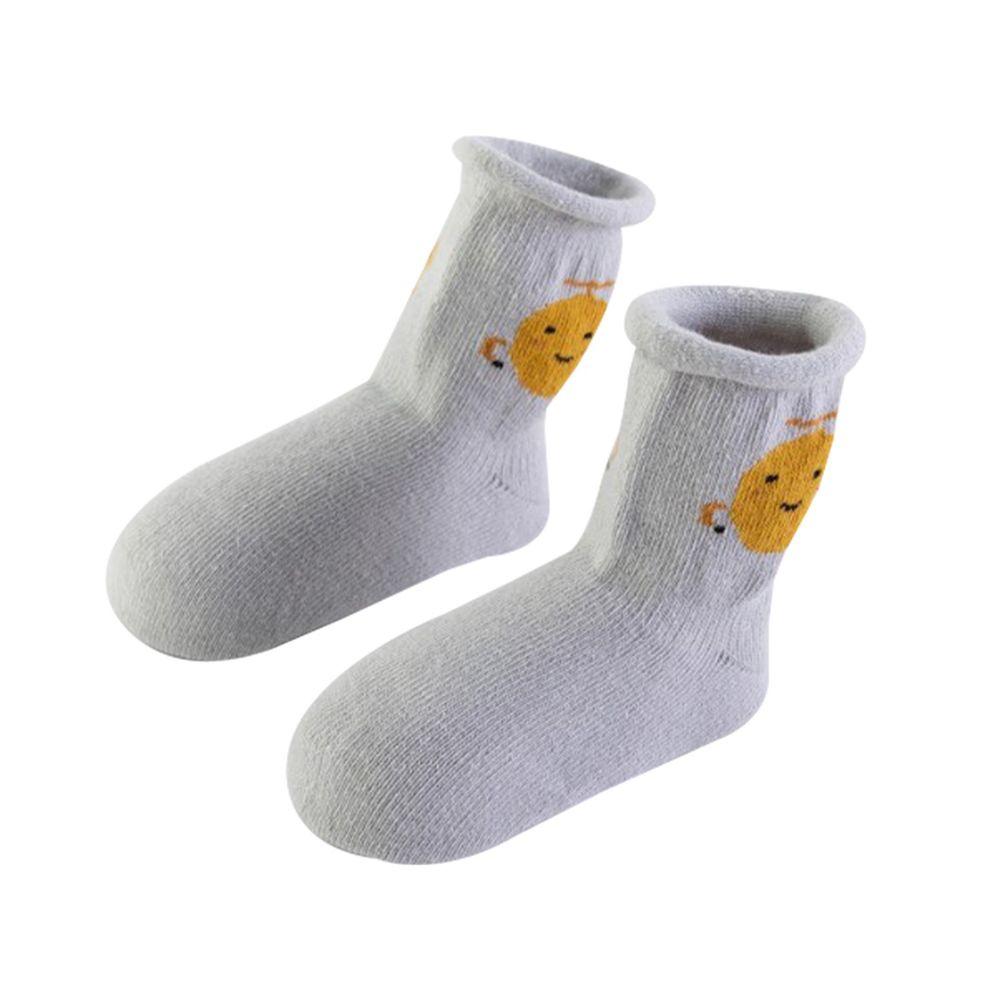 JoyNa - 鬆口捲邊 寶寶可愛襪(底部止滑)-淺灰小怪獸