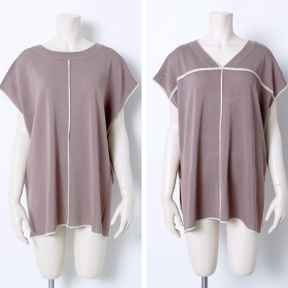 日本 Rejoule - 2way撞色線條針織短袖上衣-摩卡 (M(Free size))