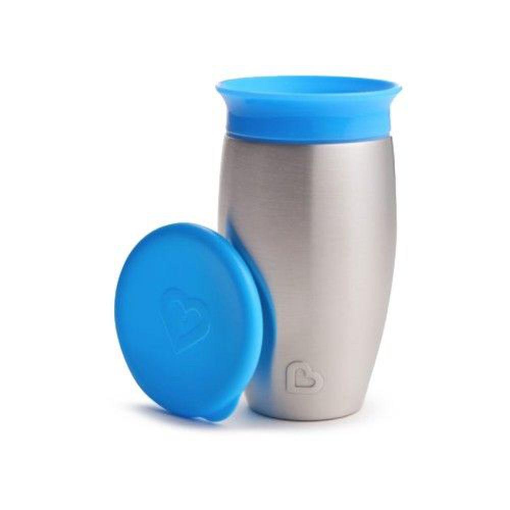 美國 munchkin - 360度不鏽鋼防漏杯296ml-藍 (12M+)