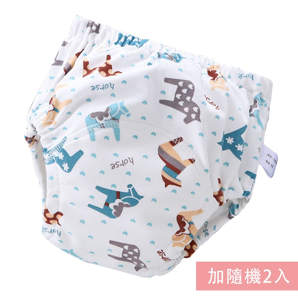JoyNa - 可愛印花六層紗4層學習褲-3件入-白色小馬+隨機2入