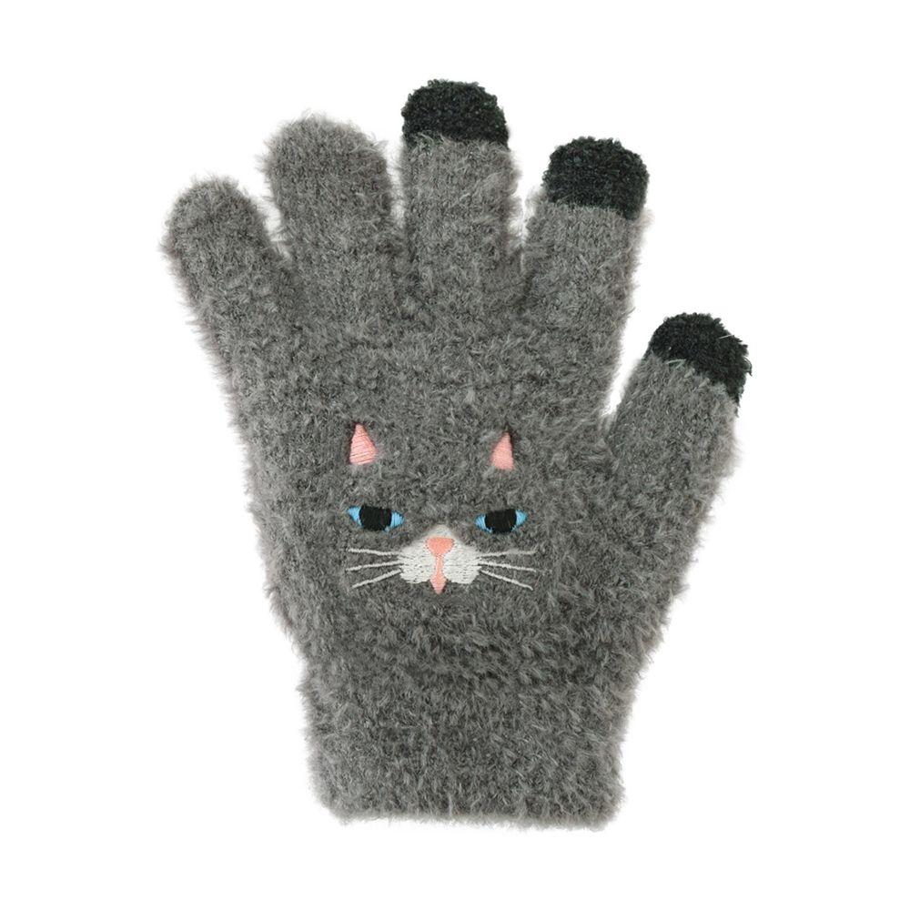 日本 TOMO - (兒童)可觸控可愛動物毛絨保暖手套-深灰貓-深灰