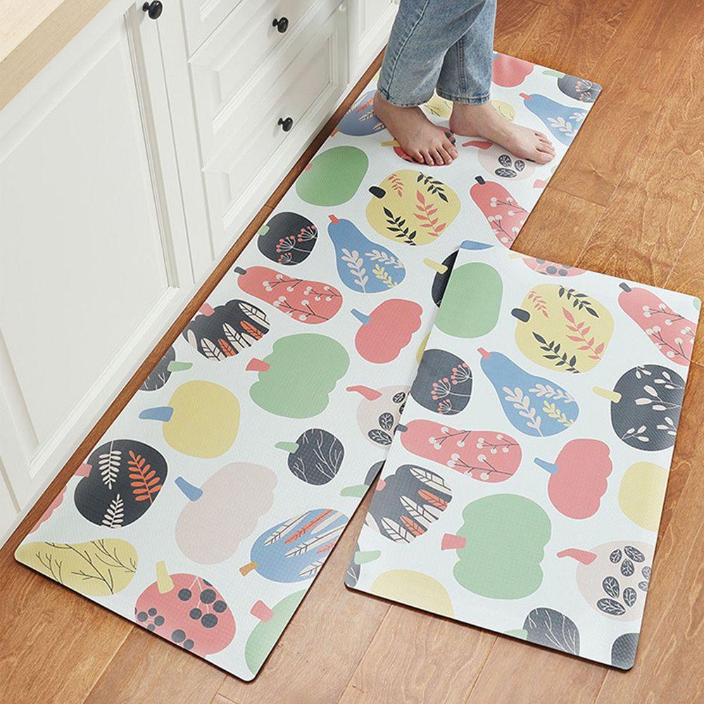 廚房仿皮革PVC防水腳踏墊-田園蔬果