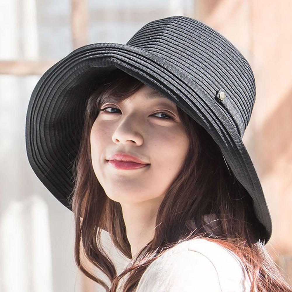 日本服飾代購 - 【irodori】抗UV可捲收 藤編遮陽帽-時尚黑 (M(58cm))