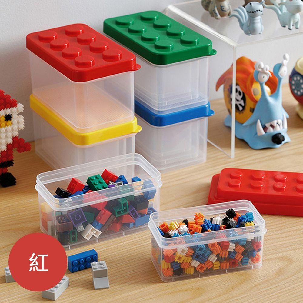 日本霜山 - 樂高可疊式小顆粒積木/零件收納盒-大中小3件套組-紅