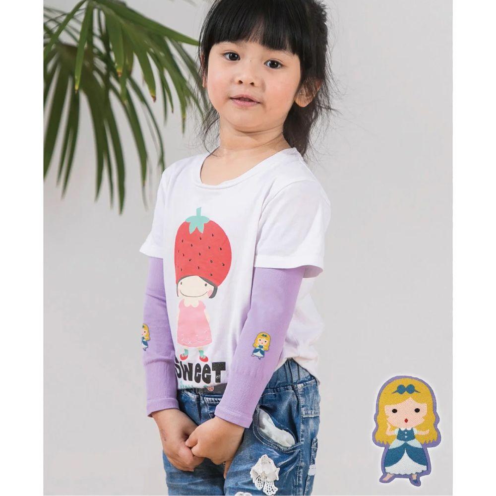 貝柔 Peilou - UPF50+兒童高效涼感防蚊抗UV袖套-(貼布繡)-灰姑娘-紫 (F)