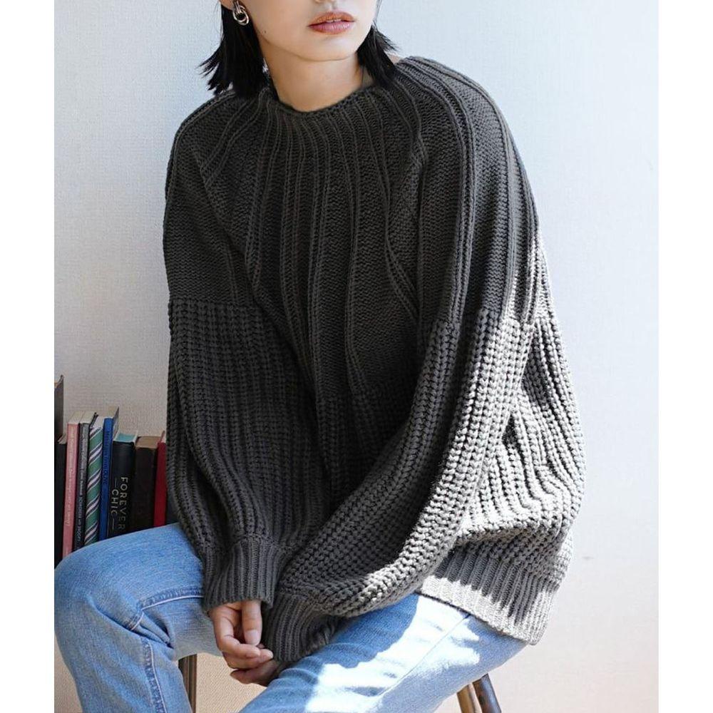 日本 zootie - 立體粗細拼接針織毛衣-深灰