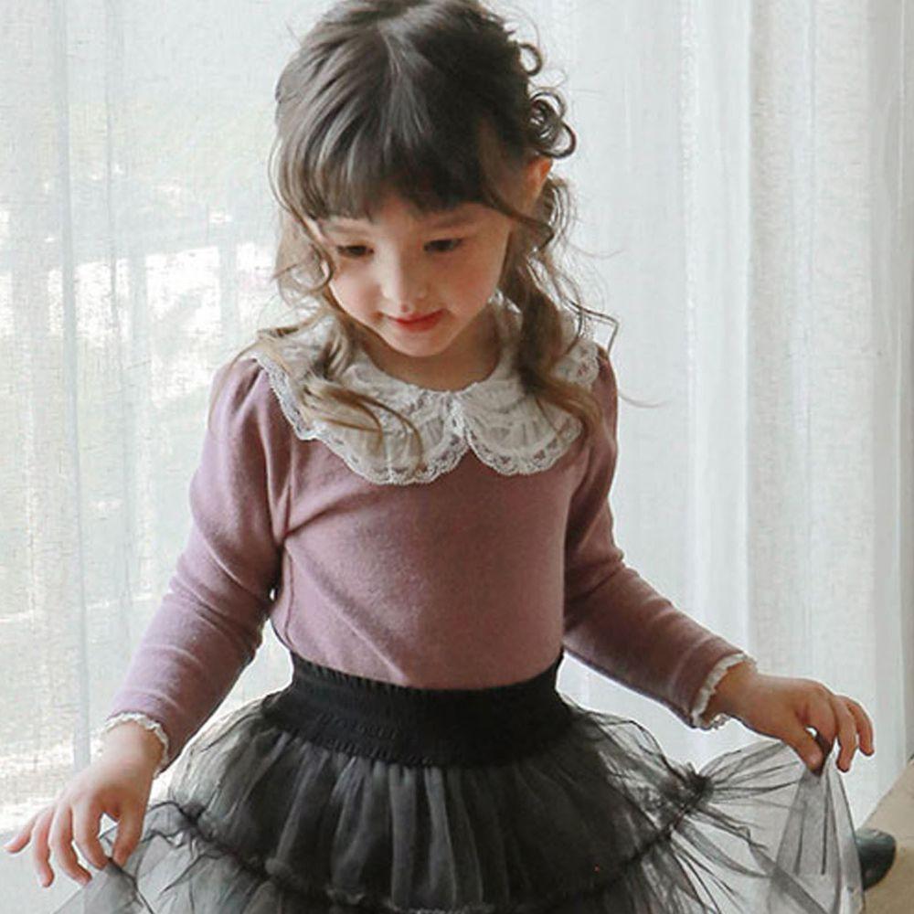 韓國 Puellaflo - 華麗蕾絲滾邊白領垃絨上衣-香檳紫