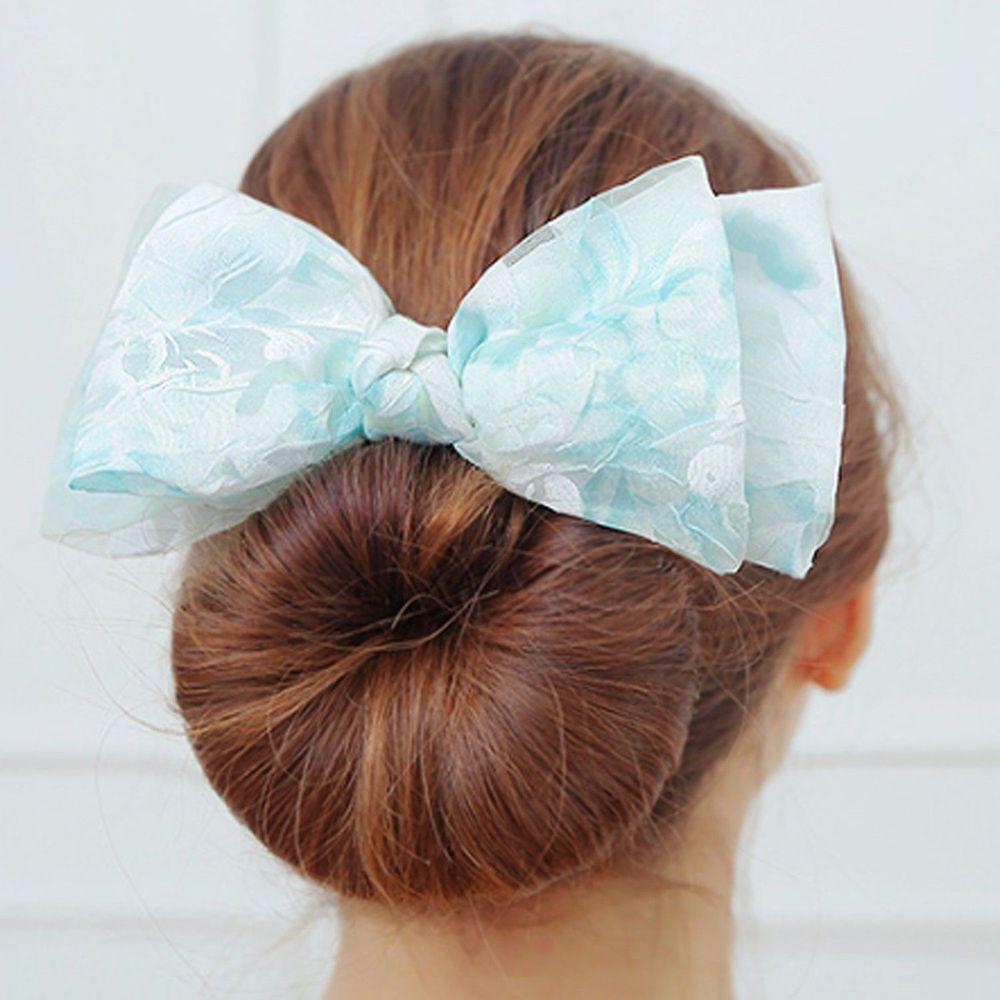 韓國 Soo&Soo - 包包頭整髮神器-水彩花朵雙層蝴蝶結-薄荷綠