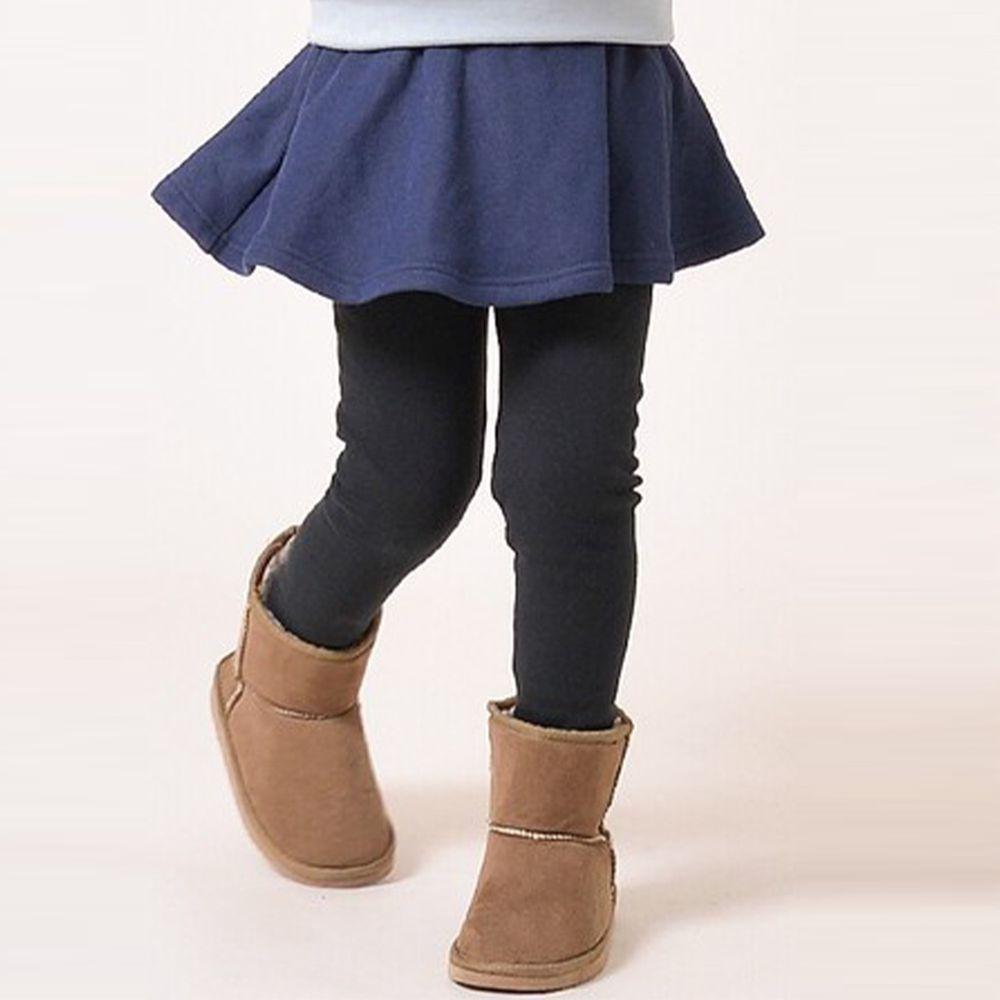 日本 TORIDORY - 極暖彈性裏起毛內搭褲裙-素面款-丹寧深藍