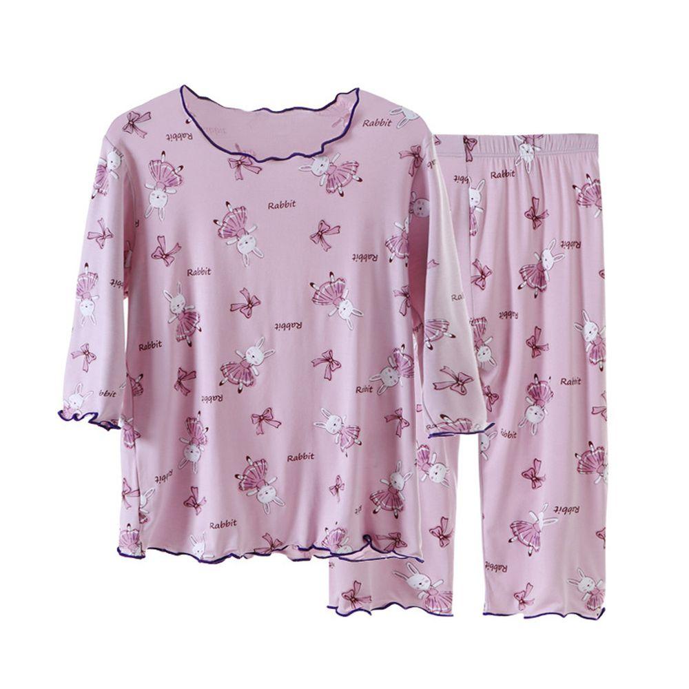 莫代爾七分袖套裝/家居服-滿版舞兔-紫色