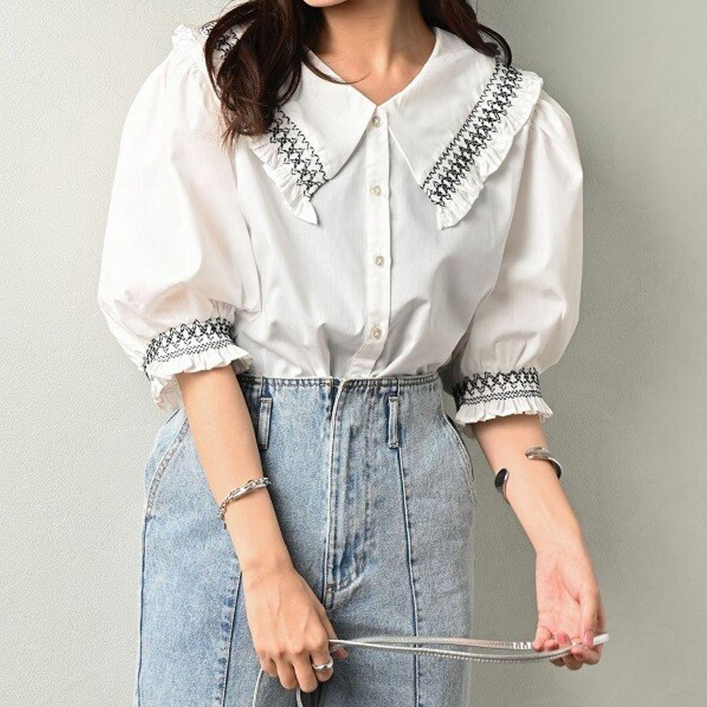 日本 ELENCARE DUE - 歐風刺繡荷葉領五分袖襯衫/外套-白
