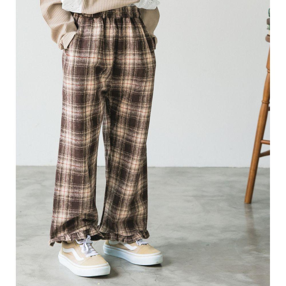 日本 PAIRMANON - 荷葉造型寬褲-格紋-深咖啡