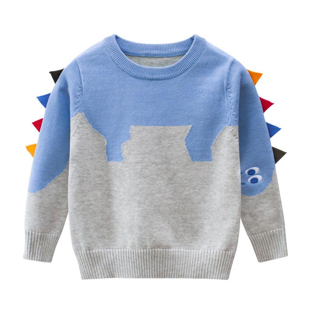 恐龍毛衣-天藍