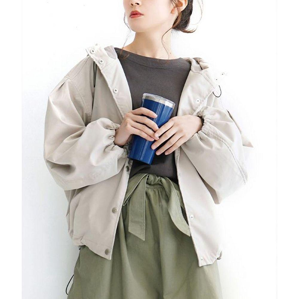 日本 zootie - 抽繩設計修身寬鬆連帽休閒外套-米