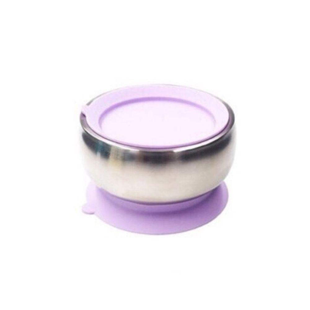 美國little.b - 316雙層不鏽鋼吸盤碗-夢幻紫-(碗*1, 上蓋*1, 吸盤*1)