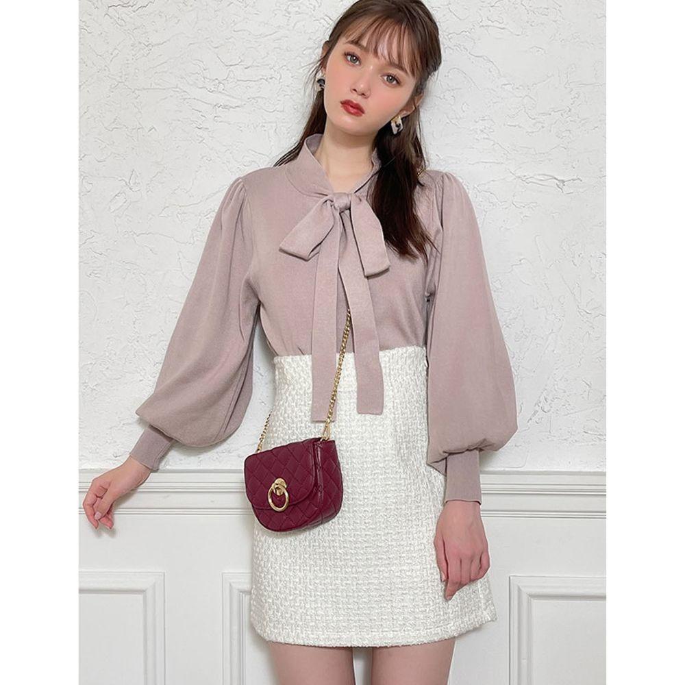 日本 GRL - 低調華麗粗花呢A字短裙-米