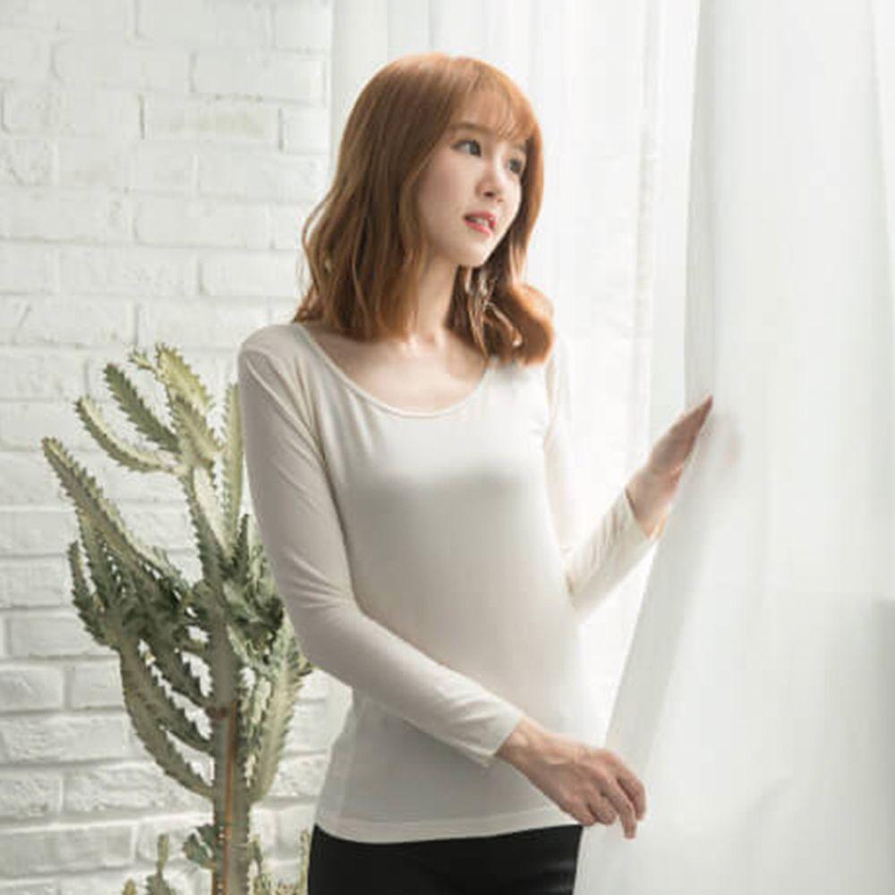貝柔 Peilou - TENCEL日本吸濕發熱纖維保暖衣-女圓領-米白