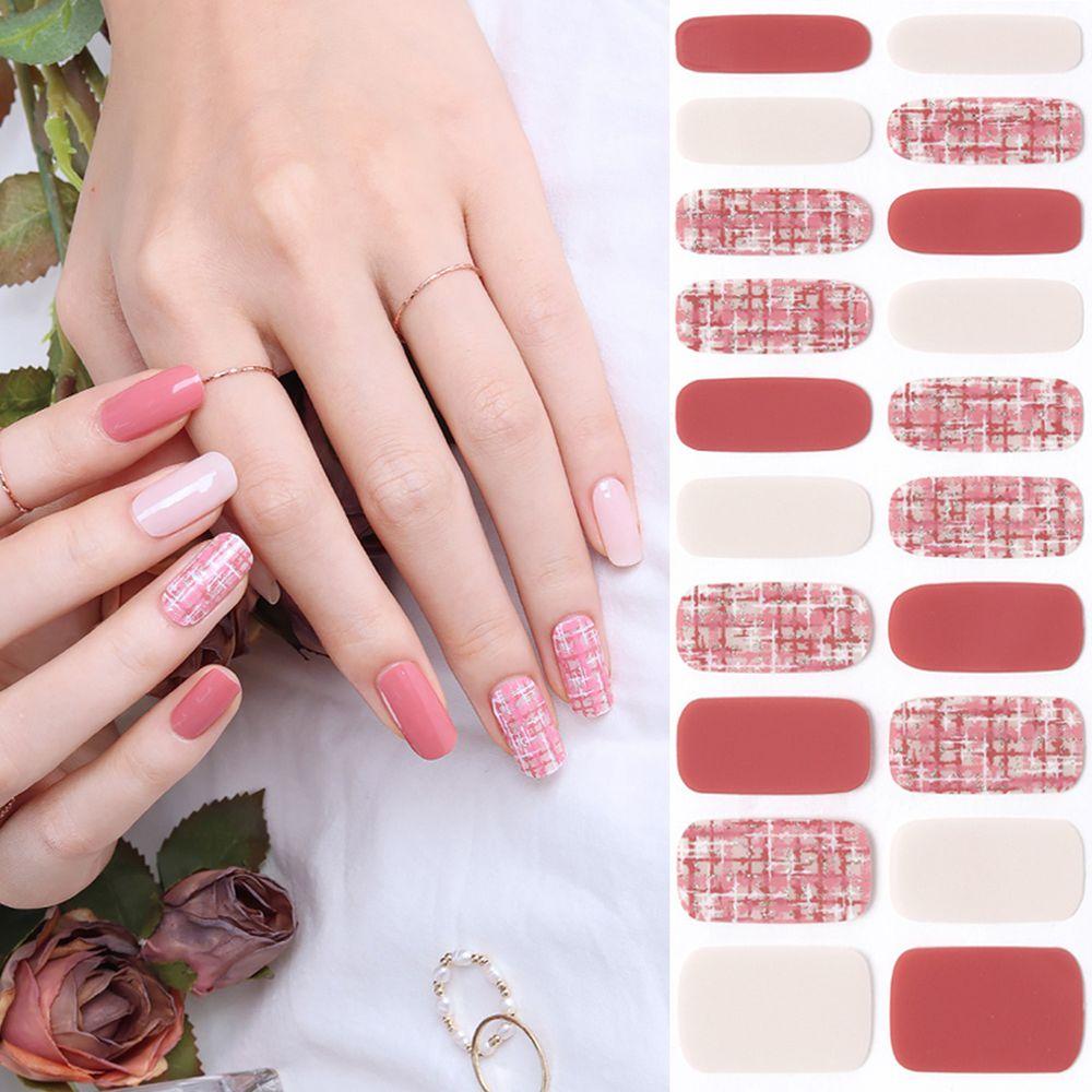韓國 Glossy Blossom - 美甲貼-粉紅格紋-一張20貼+美甲貼磨甲棒