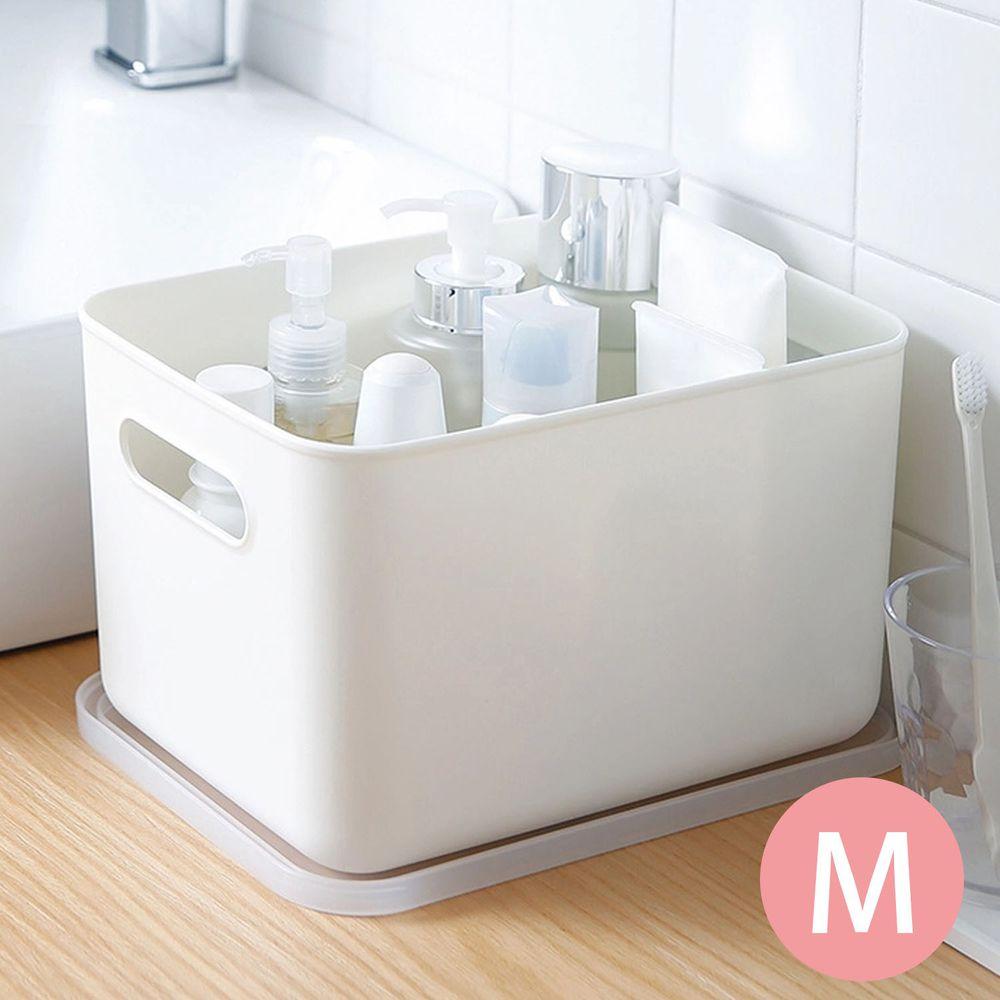 日本霜山 - 無印風霧面附蓋把手收納盒-M (3入)