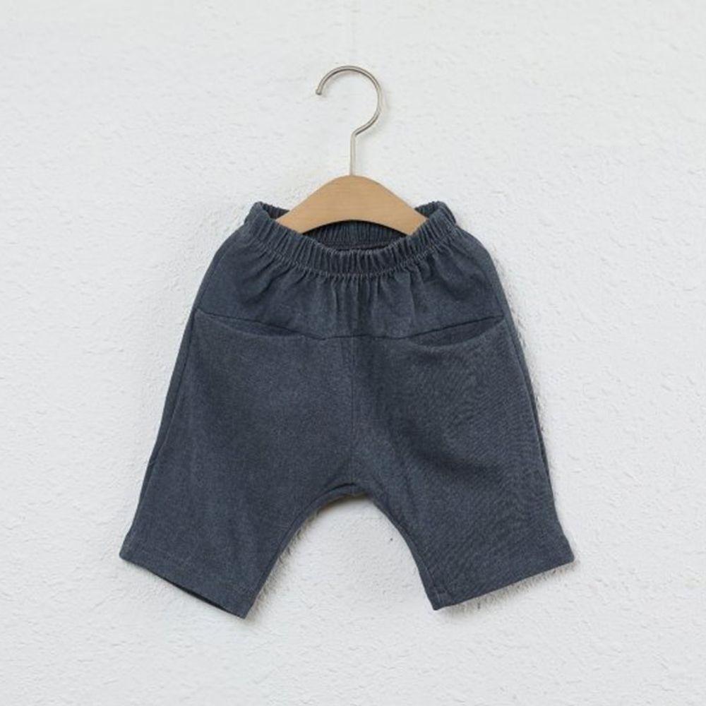 韓國製 - 平口袋純棉7分褲-深灰