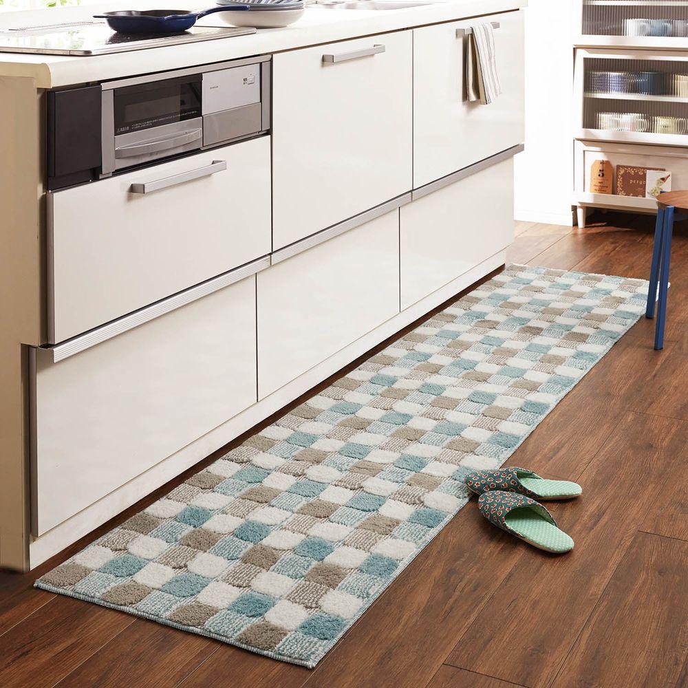 日本千趣會 - 長毛舒適腳踏墊(廚房/臥室)-漸層方格-藍色系