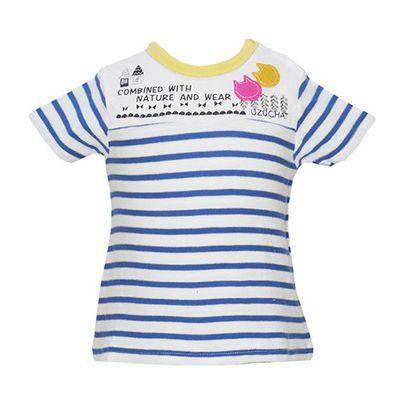貓咪臉條紋純棉短袖T恤-藍 (80cm)