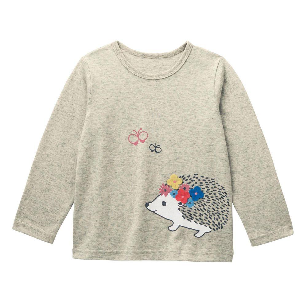 日本千趣會 - 純棉立體設計長T-刺蝟花花-燕麥