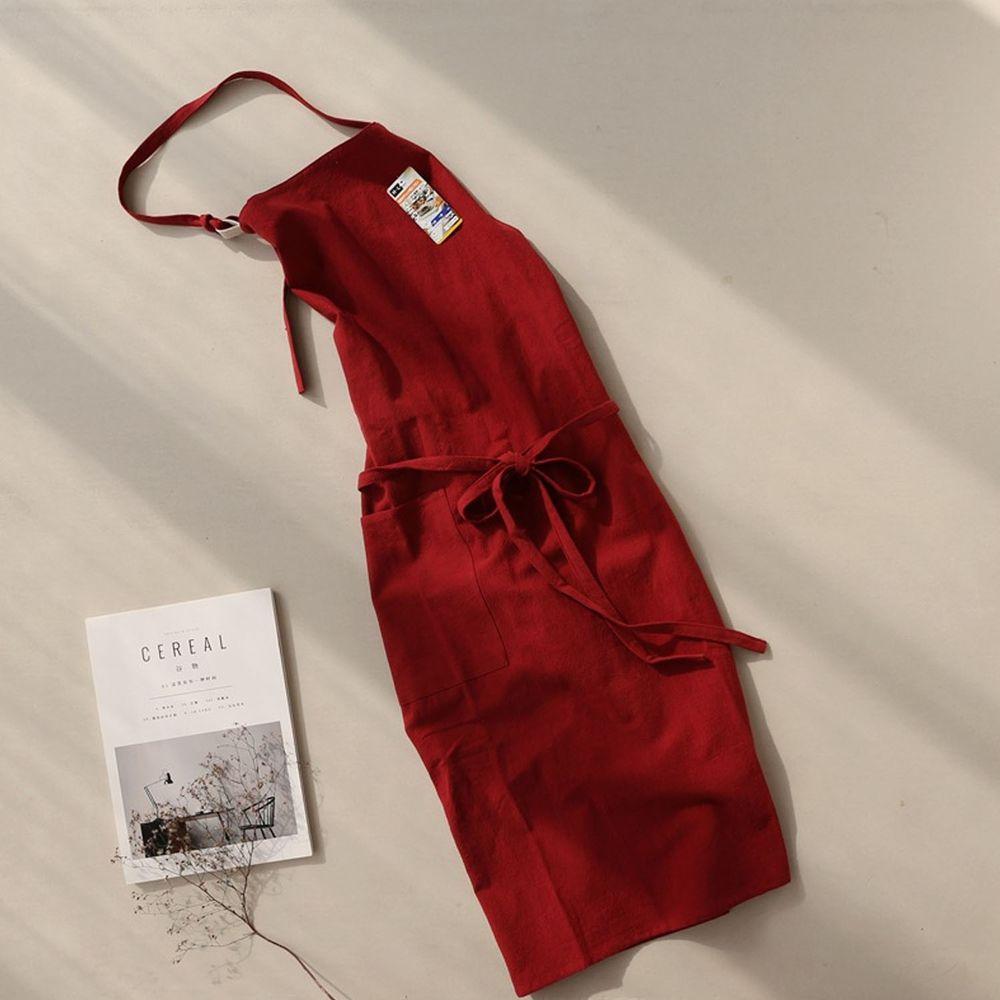 前繫帶純色棉麻圍裙-復古紅