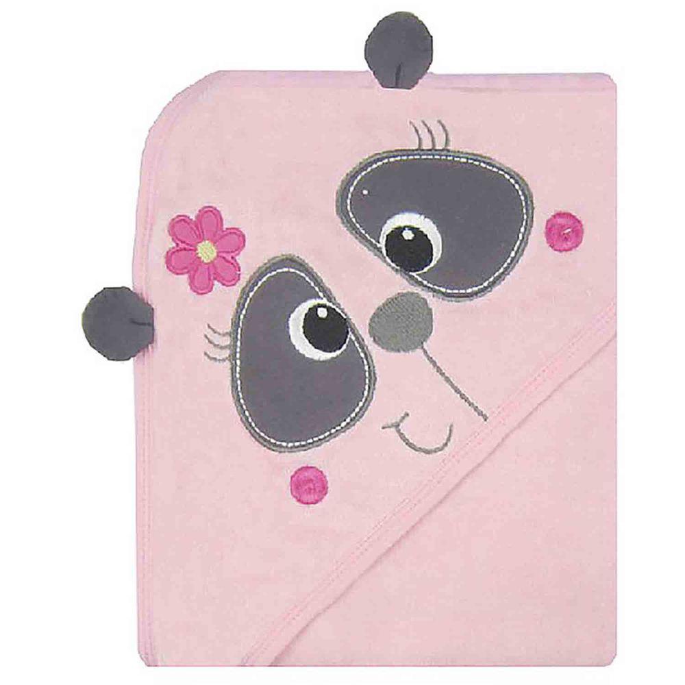 美國 Luvable Friends - 嬰幼兒動物造型100%純棉連帽浴巾/包巾-粉浣熊